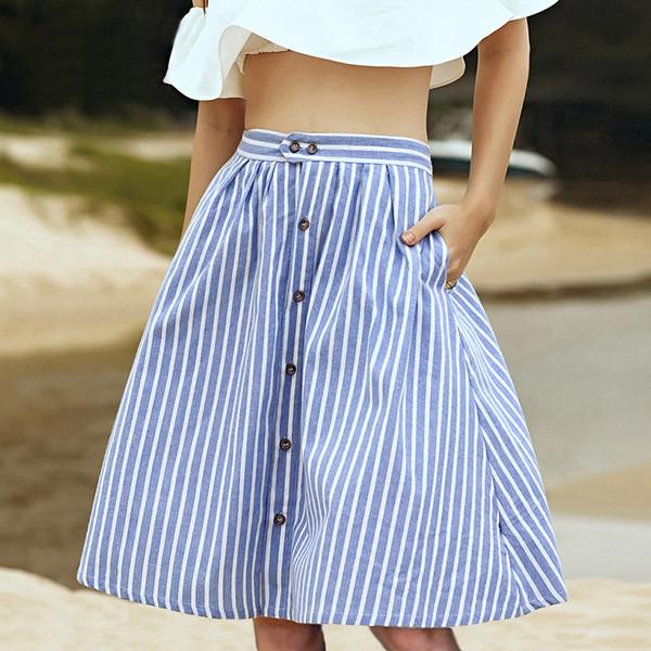 Striped A-line Blue Single-breasted Skirt Women 2018 Spring Summer Casual High Waist Knee-length Skirts Cute Ladies Skirt Femme MX190731