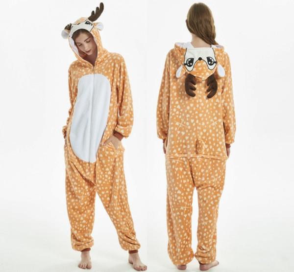 Adult Cartoon Deer Kigurumi Animal Pajama Sets Women Pyjamas Sleepwear Pijamas Winter Flannel Night Suit 2019 MC1504