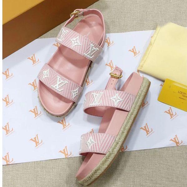 Lüks Tasarımcı kadın Sandalet 2019 Yeni Kadın tasarımcı flats Slaytlar Saman özelleştirme Yaz Rahat nedensel sandalet yüksek kalite