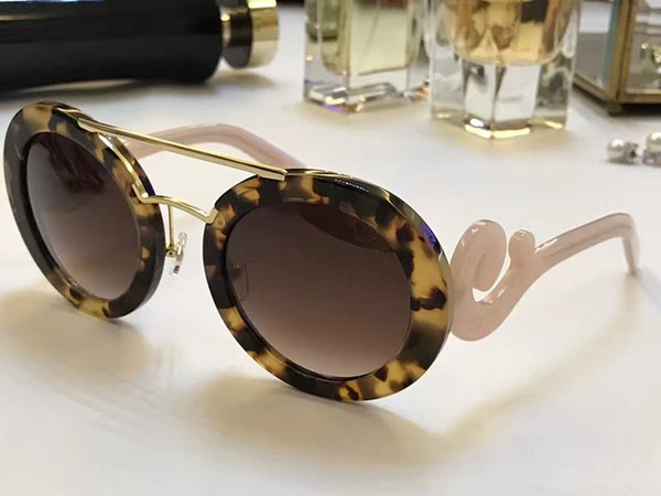 Luxury- designer Sunglasses Round Shape Fashion Big Face Retro Vintage Summer Style Women PD Designer Full Frame Top Quality With Case