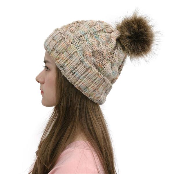 Beanie autunno inverno per le donne lavorato a maglia Pompon Hat Slouchy Beanie Skullies da donna Nero Rosso Giallo cofano Cap