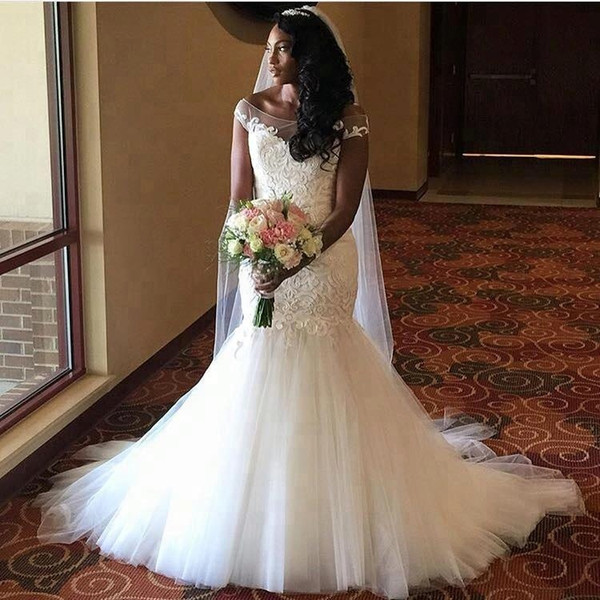 2020 Plus Size Mermaid Wedding Dress Sheer Bateau Neck Lace Appliques Tulle Skirt Custom Made Bridal Gown 50% Discount