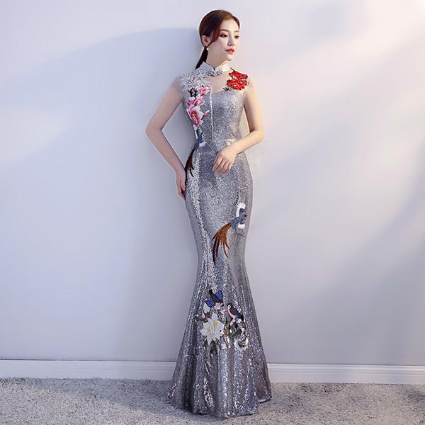 High Quality Women Sequins Mermaid Dress Noble Flower Slim Full Length Cheongsam Vestidos Vintage Banquet Gown Prom Qipao S-XXL