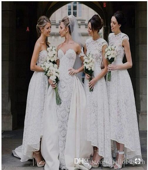 White Lace Tea Length HI Lo Short Bridesmaid Dresses Different Styles Same Color Simple Designs Long Cheap African Nigerian Lace Dress 2019