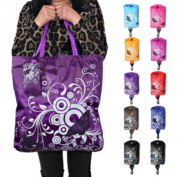 Foldable Shopping Bag Butterfly Flower Oxford Fabric Shoulder Bag Portable Eco-Friendly Grocery Reusable Tote for Ladies