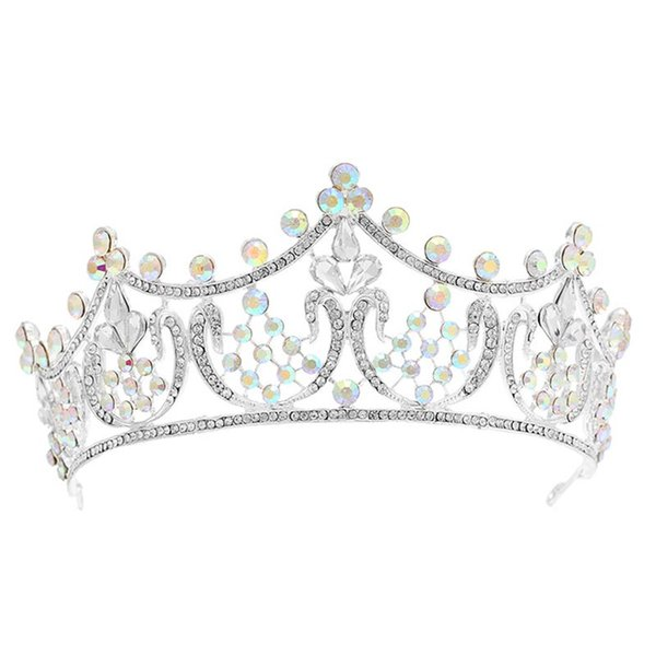Women Bridal Wedding Hair Jewelry Tiaras Crowns Gold Color Colorful Crystal Rhinestones Accessories Headband Tiaras Crowns LB