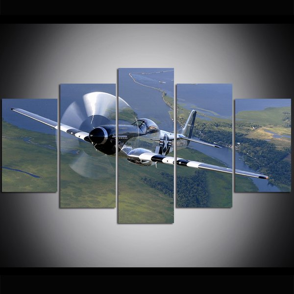 5 Piece Large Size Canvas Wall Art P51 Mustang Fighter Oil Painting Wall Art Pictures for Living Room Paintings Wall Decor