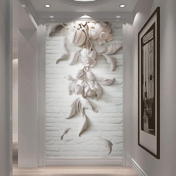 8D Large Mural Gypsum Flower 3d Bricks Wallpaper Mural Photo 3D Wall Mural Wall paper for Bedroom Sofa Background Wallcovering