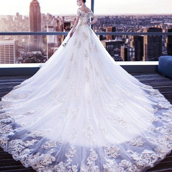 Wedding Dress Bride 2019 New Dream Princess Long Tail Slender Shoulder  European And American White Court Size Plus Size Wedding Gowns Shop Dresses  ...