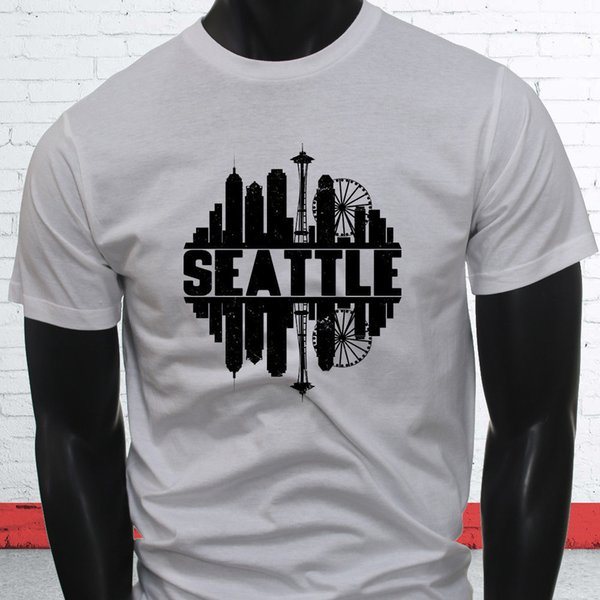 DISTRESSED SEATTLE SKYLINE PRIDE CITY LOVE PROUD Mens White T-Shirt jacket croatia leather tshirt denim clothes camiseta t shirt