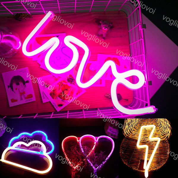 top popular Led Neon Sign Light SMD2835 Indoor Night light Love Heart Cloud Lightning Model Holiday Xmas Party Wedding Decorations Table Lamps EUB 2021