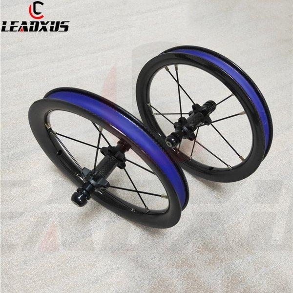 Juego de ruedas de carbono para bicicleta deslizante LEADXUS Rodamiento de tracción recta de 12 pulgadas BMX Ruedas de carbono para bicicleta de equilibrio para niños 85mm 95mm BMX