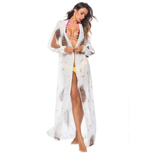 Women Chiffon Summer Beach Coat Cover Up Bohemian Long Sleeve Open Front Trench Leopard Printed Loose Thin Top