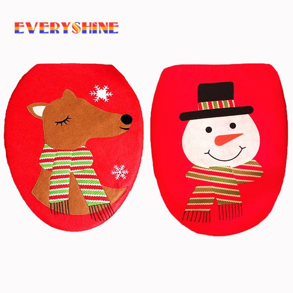 Christmas Reindeer Snowman Bathroom Toilet Lid Cover Ornaments Xmas New Year Washroom Decoration Toilet Cap for Home SD425
