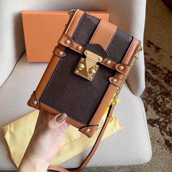 top popular Classic printing chain designer luxury handbags purses Vertical box bag crossbody bags Adjustable shoulder strap Mobile phone package 2019