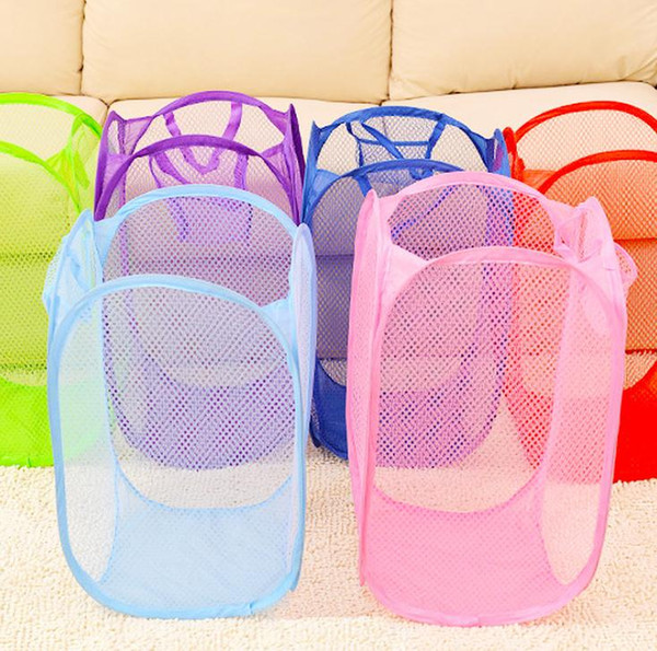 100pcs Mesh Fabric Foldable Pop Up Dirty Clothes Washing Laundry Basket Bag Bin Hamper Storage for Home Housekeeping
