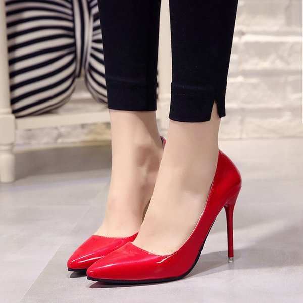 2019 Dress 2019 Hot Women Shoes Pointed Toe Pumps Patent Leather Dress High Heels Boat Wedding Zapatos Mujer Blue Wine Red Size 34-40