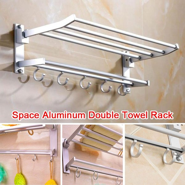 Towel Rack Double Towel Rack Bar Double-Layer Punching Convenient Multifunctional Foldable Organizer Wall Mount Hook