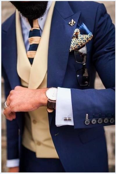All Loved Peak Risel Blu scuro Groomsmen One Button Smoking dello sposo Abiti da uomo Matrimonio / Ballo / Cena Best Man Blazer (Giacca + Pantaloni + Cravatta + Gilet)