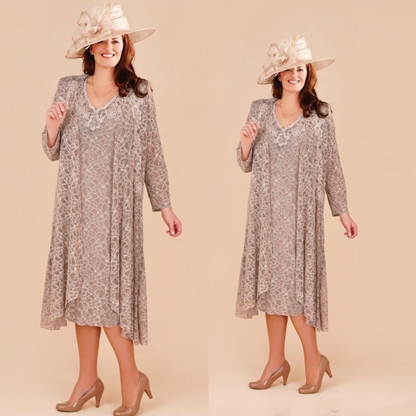 Plus Size Mother Of The Bride Dresses With Long Jacket 2019 Lace Applique  Wedding Guest Dress Tea Length Beach Formal Wear Long Sleeve Mother Of The  ...