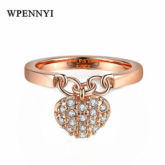 Rose Gold Color Rhinestones Inlays Heart-shape Pendant Design Exquisite Woman Fashion Ring Christmas Gifts