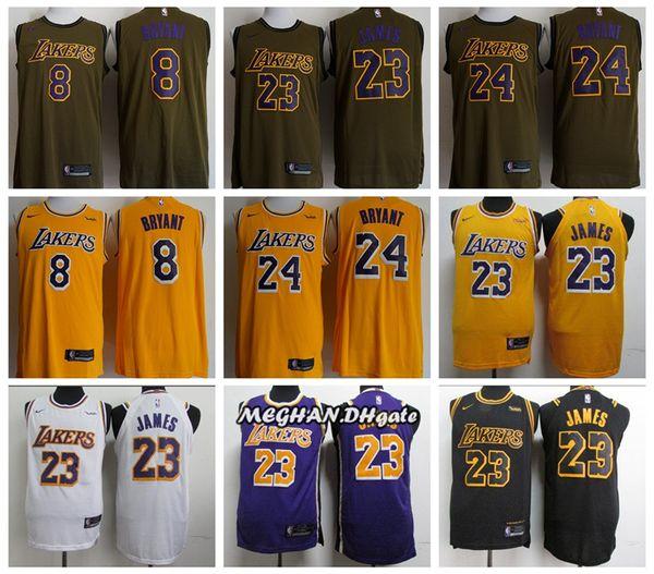 buy online 28ba8 1cb29 2018 Retro Men The New Los Angeles Basketball Lakers Jersey 23 LeBron James  8 24 Kobe Bryant Stitching Jerseys Dark Green From Boon001, $21.11 | ...
