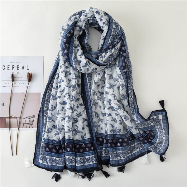 Cotton and Linen Keep Warm Shawl Blue and White Porcelain Tone Small Flower Pattern Folk-custom Scarf Women Autumn and Winter Wild Scarf