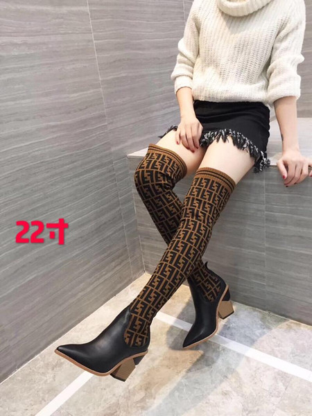 Fashion new women over the knee boots Sexy Knitted socks boots chunky heel Luxury ladies winter boots SIZE US9.5