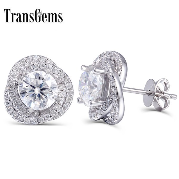Transgems 2 Ctw Lab Grown Moissanite Diamond Stud Earrings Push Back In Solid 14k White Gold For Women Fine Jewelry J 190427