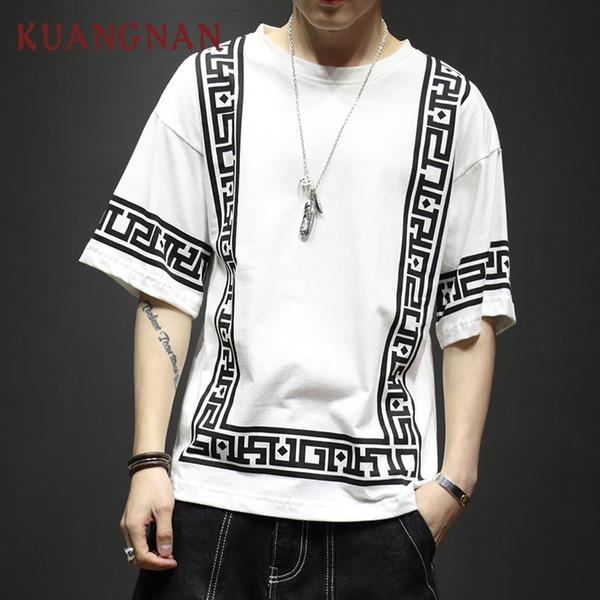 Harajuku Streetwear camiseta blanca de los hombres de moda divertida camiseta de los hombres camiseta de media manga de hip hop camiseta de los hombres 5XL verano