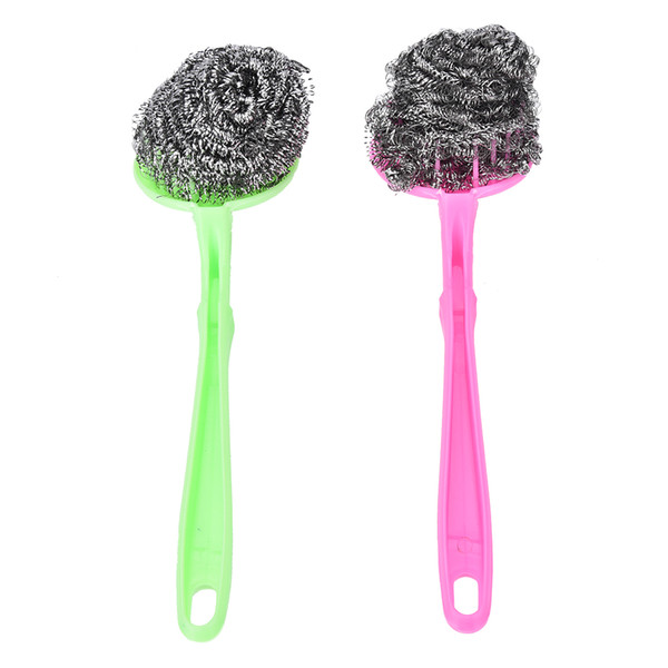 Home Wash Clean Tool Kitchen Pot Brush BBQ Cleaner Brushes Replaceable Pan Dish Grill Scrub Steel Wire Cleaning Ball Scourer