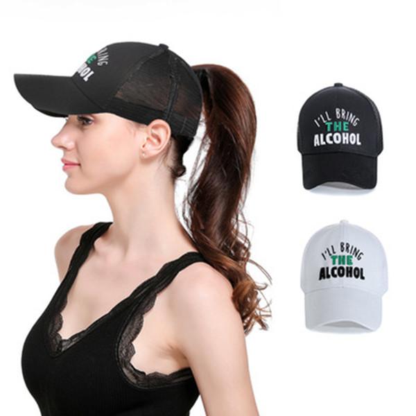Moda Letras Bordado Gorras de béisbol Mujeres cola de caballo Hip Hop Sombrero Sombrero de Malla de Verano 6 colores ZZA475