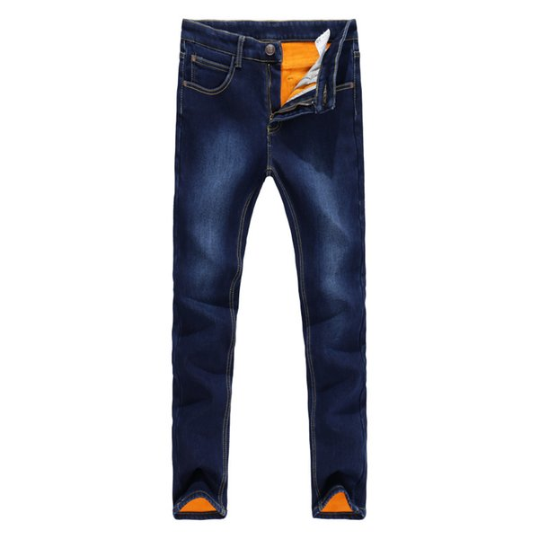 Mens Jeans 2017 New Winter Stretch Thicken Jeans with Warm Fleece High Quality Denim Jean Pants Trousers Size 27-36