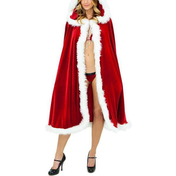 Little Red Riding femmes Cagoule longue Cape Party Fancy Sexy Robe longue Femmes Filles Halloween Costume de Noël