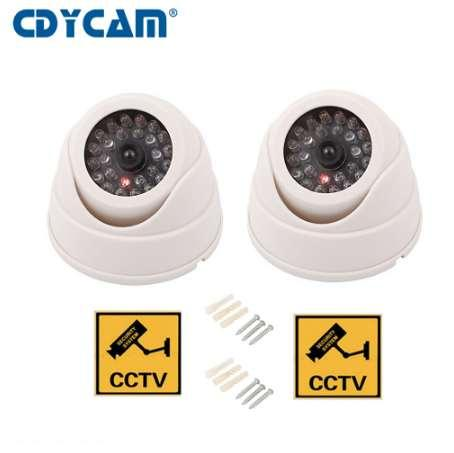 CDYCAM 2PCS(1 bag)Fake Dummy Camera Dome Waterproof Outdoor Indoor Dome Security CCTV Security Camera with LED Sensor Light