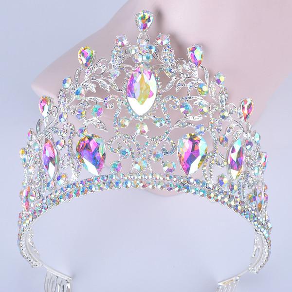 Luxury Vintage Silver Ab Wedding Crown Alloy Bridal Tiara Baroque Queen King Crown Marquise Rhinestone Half Round Tiara Comb J 190430