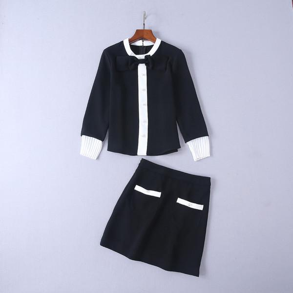 2019 Auturn Kadın Giyim Siyah Beyaz Kazak 2 Parça Setleri Çizgili Etek Takım Elbise Seksi Yay Düğmesi Giyim Seti Düğmesi Kadın Eşofman Szie S-L