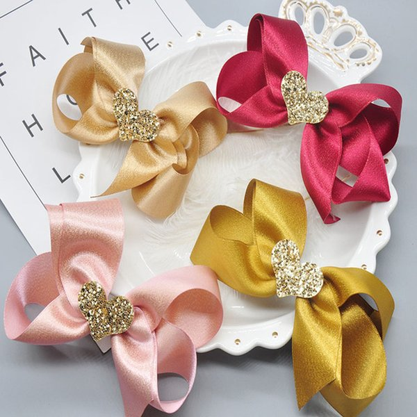Glitter Heart Girls Hair Bows Handmade Lovely Kids Hair Clips Hairpins Fashion Party Hair Accessories Gifts 100% Brand New and High Quality