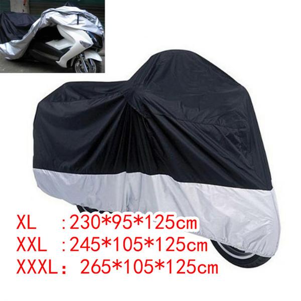 para interior y exterior color negro y plateado Funda impermeable para motocicleta con protecci/ón contra la lluvia y el polvo