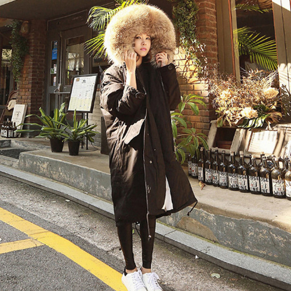 Women's Long Down Thick Cotton Faux Fur Hat Jacket 2018 Winter Fshion Female Warm Outerwear Single Breasted Casual Ladies Parkas