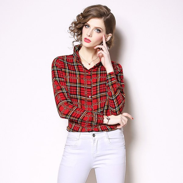 2019 Plaid Shirt for Women Vintage Long Sleeve Custom T Shirts Fashion Classical Tops Tees Plus Size
