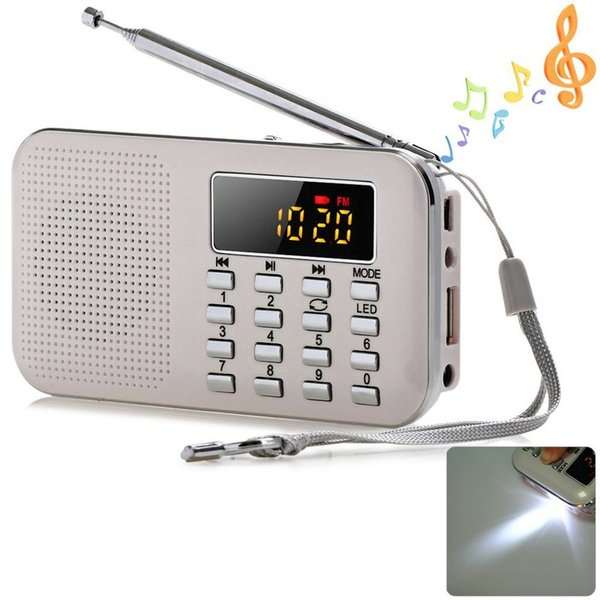 2018 New Portable Mini Stereo LCD Digital FM Radio Speaker USB TF Card Mp3 Music Player with LED Light and Rechargeable Battery