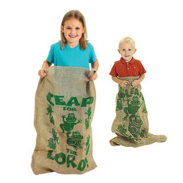 89*61.5cm Burlap Potato Sacks Frog Jump Bag Kids Children's Outdoor Sports Team Games Jumping Toy
