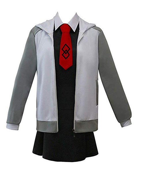 Fate Grand Order Matthew Kyrielight Adult Grey Splice Casual Jacket Coat Black Sleeveless Skirt Dress Cosplay Costume
