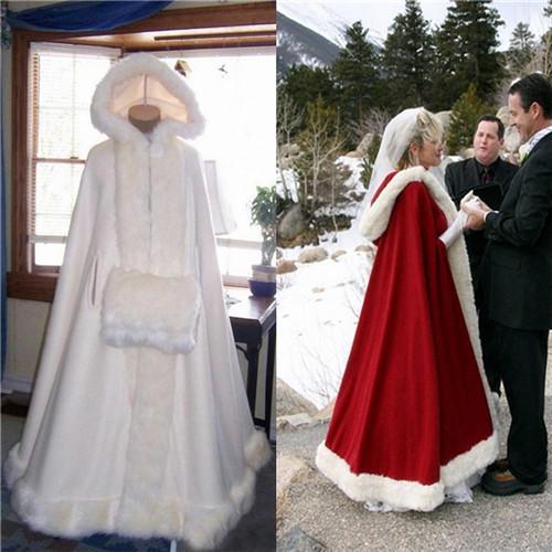 Real Image 2020 Hooded White Ivory Bridal Cape Jacket Long Wedding Cloaks Faux Fur For Winter Wedding Wraps Bridal Cloak