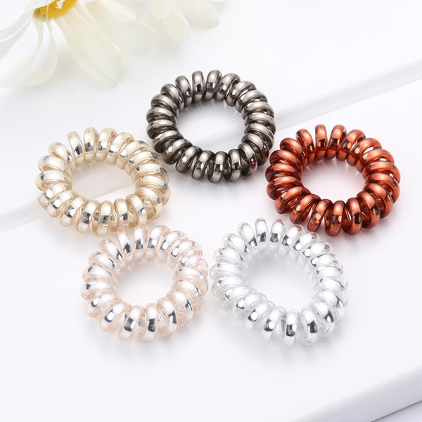 2019 Women Hair Accessories Multicolor Elastic HairBands Spiral Shape Ponytail Rubber Band Hair Rope Telephone Wire
