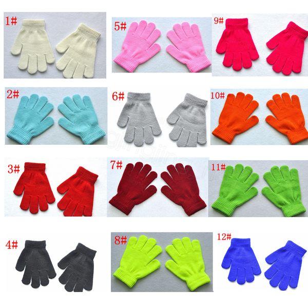12styles complet Finger Mitaines enfants Filles Gants Gants d'hiver pour enfants Garçons Filles Réchauffez Gants bébé tricotée extensible bonbons couleur cadeau FFA3243