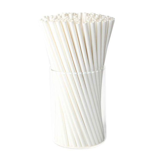 2000 шт. 6 * 197 мм белая бумага, трубочки для питья, экологически чистые, биоразлагаемые для напитков.