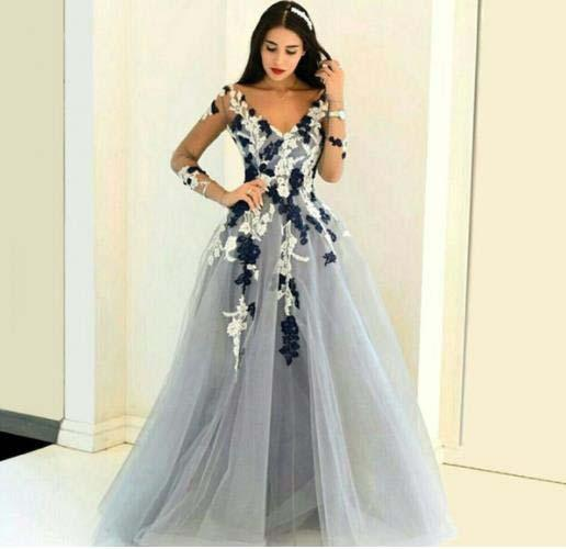 High Quality European Style Illusion Long Sleeve Open Back Bandage Evening Dresses Arabic V Neck A line Lace applique Formal Party Gown