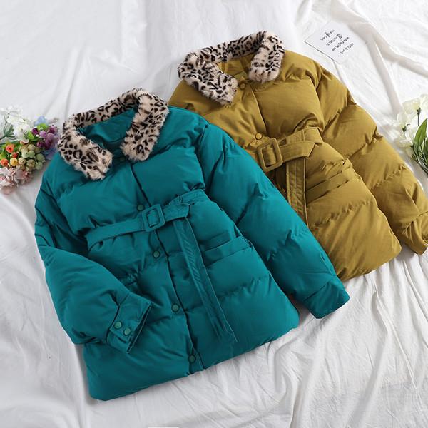MUMUZI 2019 Nouveau femmes hiver veste col léopard femmes Veste de couleur contrastée long manteau nouveau coton femme avec ceinture